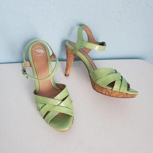 Nurture mint green leather cork heel sandals